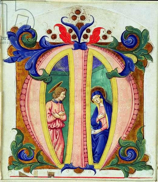 Historiated initial 'M' depicting the Annunciation (vellum)