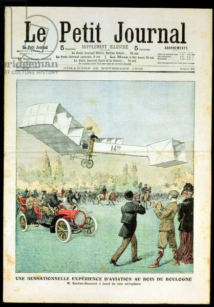 The Sensational Aviation Experiment over the Bois de Boulogne, from 'Le Petit Journal', 25th November 1906 (colour litho)