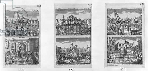 Six royal statues destroyed in Paris, 11th August 1792 (engraving)