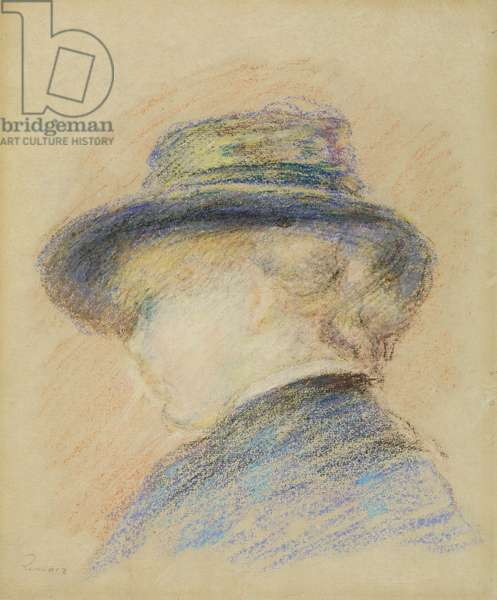 Profile of a Young Woman in a Blue Hat (pastel on paper)