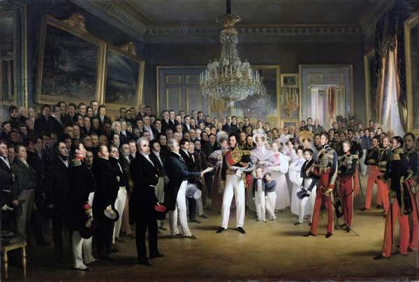 The Chamber of Deputies at the Palais Royal Summoning the Duke of Orleans, 7th August 1830 (oil on canvas)