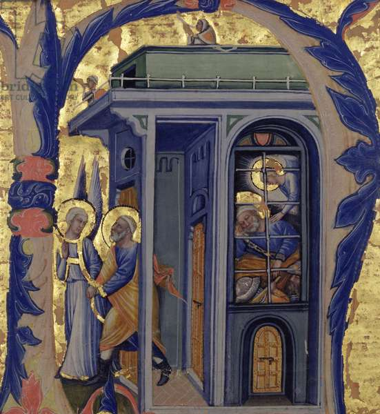 Historiated initial 'N' depicting the Liberation of St. Peter (vellum)