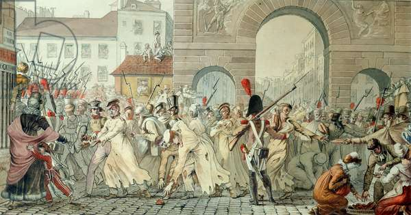 Russian Prisoners Paraded on the Boulevard Saint-Martin after the Battle of Montmirail, 17th February 1814 (pen & ink and w/c on paper)