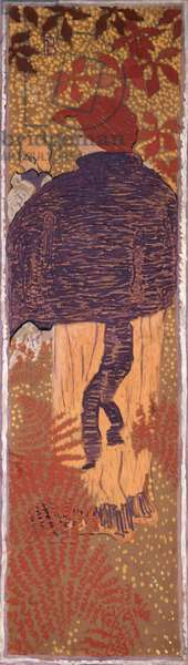 Woman in a Cape, one of four panels of 'Women in the Garden', 1891 (oil on paper on canvas)