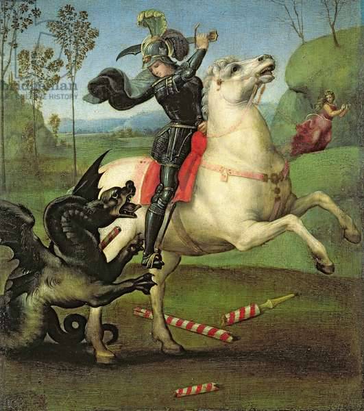 St. George Struggling with the Dragon, c.1503-05 (oil on panel) (see also 95727)