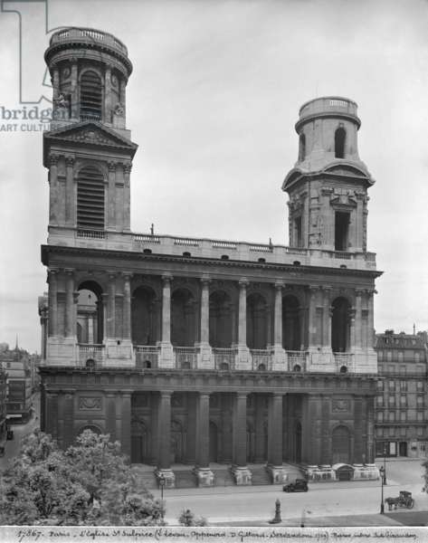 View of the church of Saint-Sulpice, 1921-22 (see also 346070) (b/w photo)