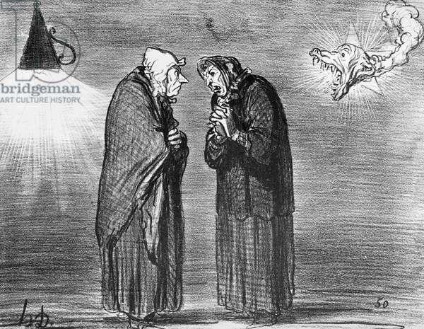 Series 'Actualites', the comet, Ah! ma pauv' madame Chaffarou, plate 392, illustration from 'Le Charivari', 1857 (litho) (b/w photo)