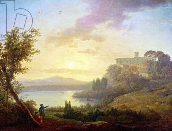Italian Landscape, Setting Sun (oil on canvas)