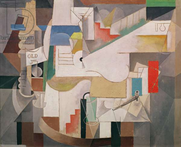 Bottle and Pipe, 1912-13 (oil on canvas)