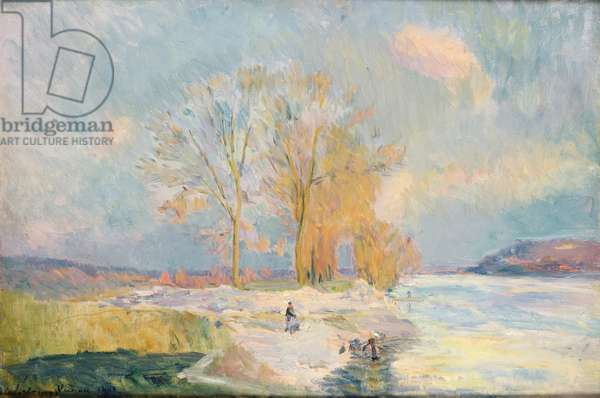 Banks of the Seine and Vernon in Winter, 1901 (oil on canvas)