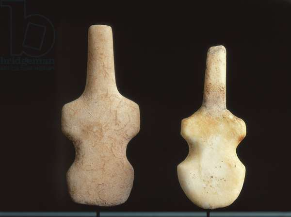 Two Violin-shaped Idols, Cycladic Period (c.3200-2700 BC) (marble)