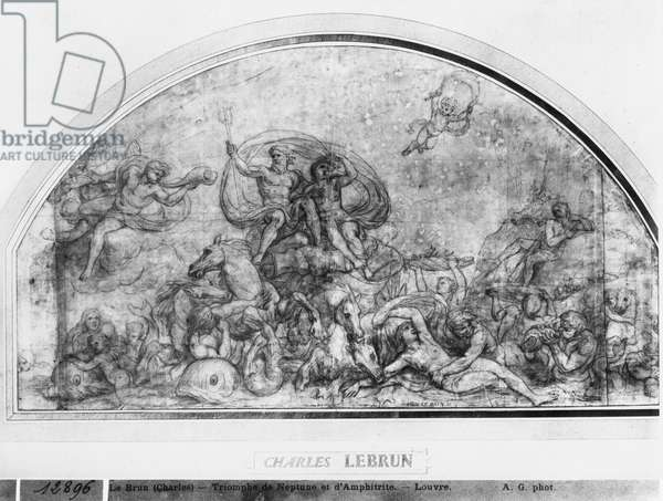 Neptune and Amphitrite or Reawakening of Waters, c.1663 (pen & brown ink & pierre noire & red chalk & grey wash on beige paper)