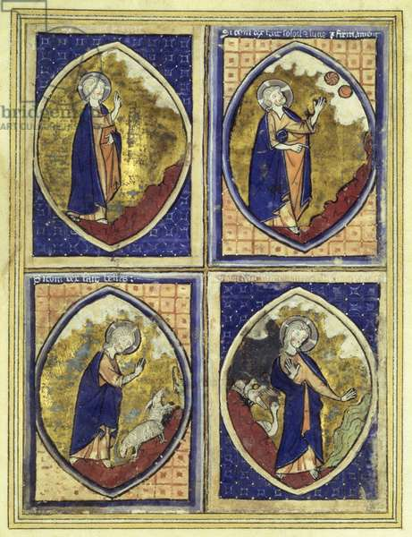 Creation of the firmament, creation of the sun and of the moon, creation of the animals, creation of the birds, late 13th century (vellum)