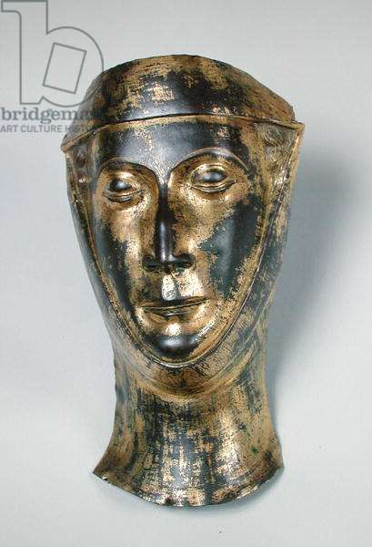 Funerary mask of the wife of Herbert Lanier (d.1290) (gilded copper)