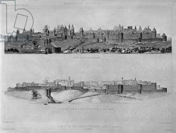 View of Carcassonne from the west side, State of the fortifications and the city in 1853, illustration from 'Monuments Historiques', published by Laurens et Schmidt editeurs (engraving) (b/w photo)