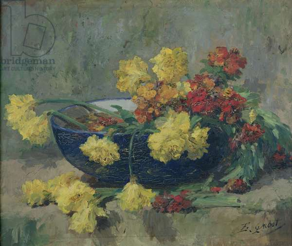 Jonquils and Wallflowers (oil on canvas)