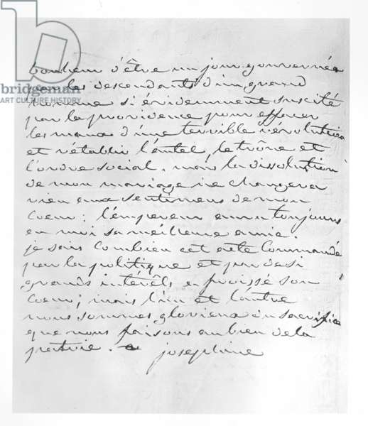 Letter from Empress Josephine giving her consent to the annulment of her marriage to Napoleon, 1809 (pen & ink on paper)