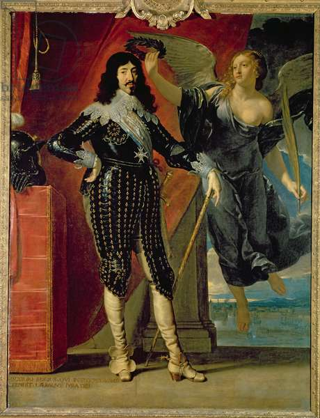 Louis XIII (1601-43) Crowned by Victory, 1635 (oil on canvas)