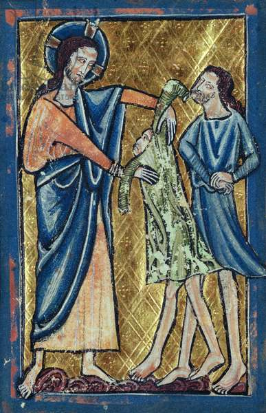 God Clothing Adam and Eve, from a book of Bible Pictures, c.1250 (vellum)