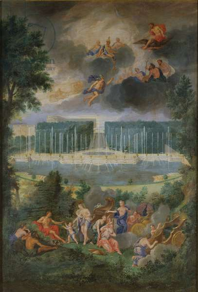 The Groves of Versailles. View of the pool of Neptune and walkway with the Judgement of Paris, 1688-93 (oil on canvas)
