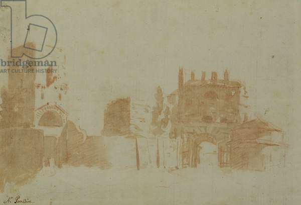 View of Rome (sepia wash on paper)