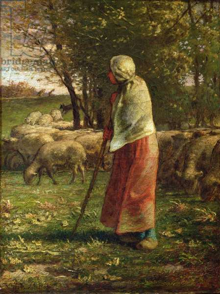 The Little Shepherdess (oil on canvas)