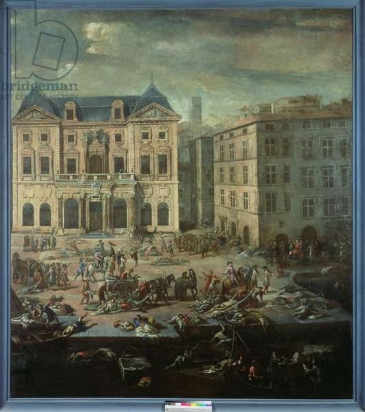 View of the Town Hall, Marseilles during the Plague of 1720 (oil on canvas)