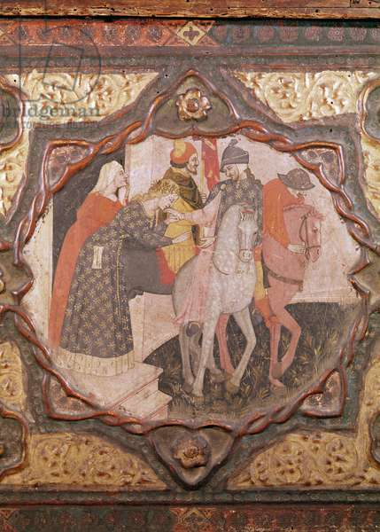 Detail of a cassone showing the story of Saladin and Torello of Istria, by Giovanni Boccaccio (tempera on panel) (see also 444280 & 444282)