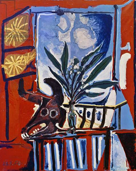 Still Life with Head of a Bull, 1958 (vinyl paint on canvas)