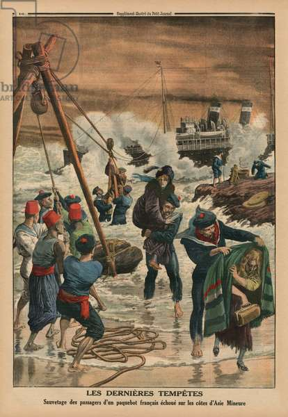 The last sea storms, rescuing the passengers of a French liner lying on the coast of Asia Minor, back cover illustration from 'Le Petit Journal', supplement illustre, 11th January 1914 (colour litho)