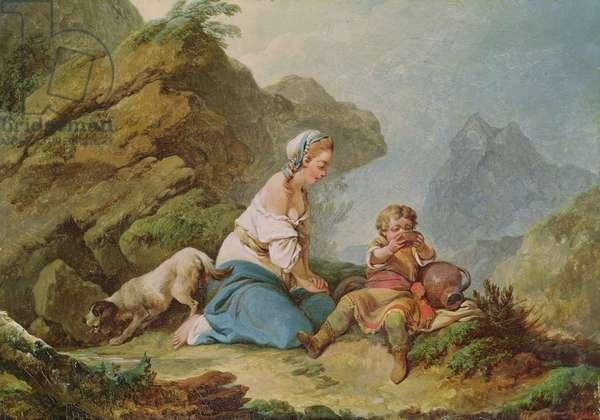 Hagar Watching her Son Drinking (oil on canvas)