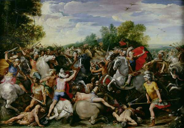 The Victory of Tullus Hostilius (672-640 BC) over the Forces of Veii and Fidenae (oil on panel)