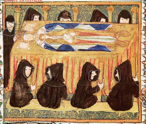Ms 197 f.22v Funeral of a king, from Liber Regalis (vellum)