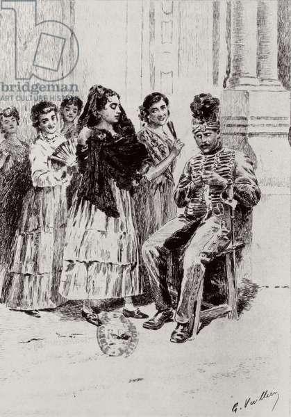 'Carmen'by Prosper Merimee illustrated by Eugene Decisy (1866-p.1936) (engraving)