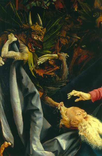 Demons pulling St. Anthony's hair, detail from The Temptation of St. Anthony from the Isenheim Altarpiece, c.1512-16 (oil on panel)