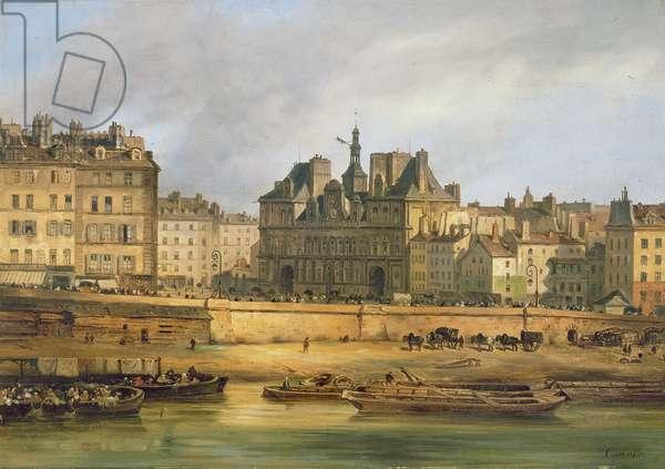 Hotel de Ville and embankment, Paris, 1828 (oil on canvas)