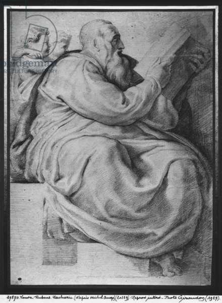 The Prophet Zacharias, after Michelangelo Buonarroti (1475-1564) (pierre noire & red chalk on paper)