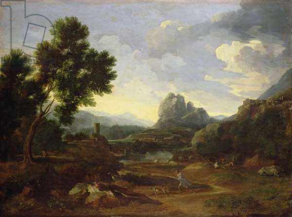 Landscape with hunter and dogs (oil on canvas)