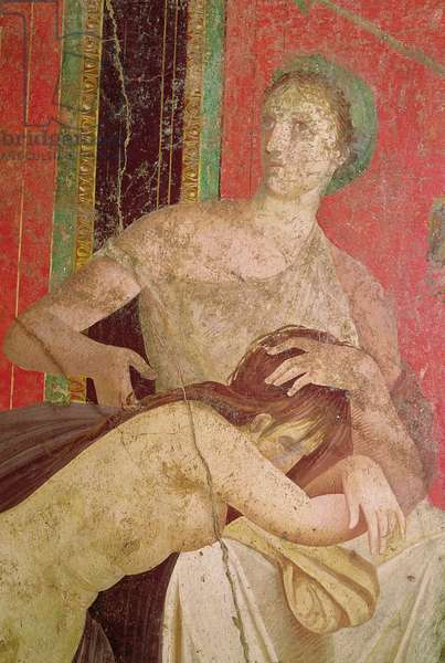 Woman Comforting the Initiate, South Wall, Oecus 5, 60-50 BC (fresco) (detail of 57190 and 161043)