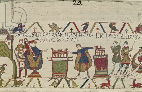 Harold swears a sacred oath to William at Bayeux, Bayeux Tapestry (wool embroidery on linen)