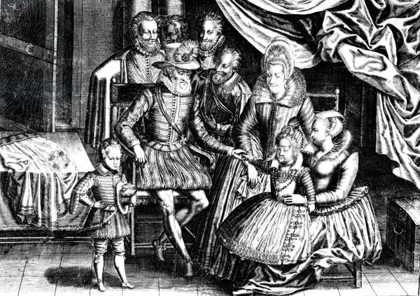 Henri IV (1553-1610) King of France with his Family and his Councillors (engraving) (b/w photo)