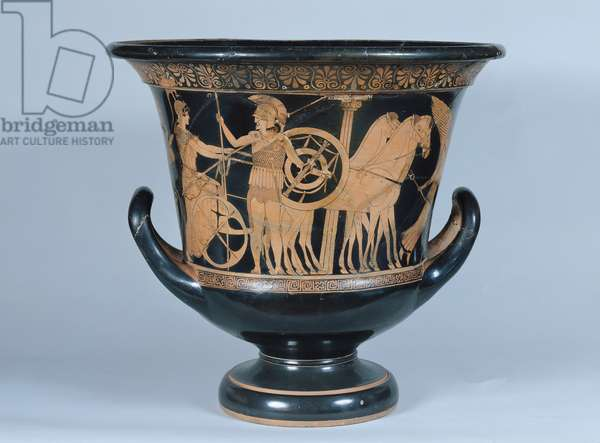 Attic red-figure kalyx krater depicting a Hoplite leaving for the war (ceramic) (see also 223268)