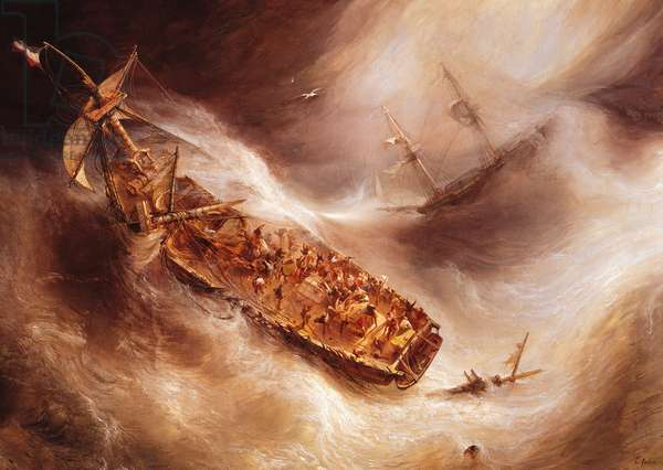 The Act of Sacrifice made by Captain Desse towards the Dutch ship 'Columbus', 1829 (oil on canvas)