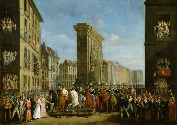 Passage of Allied Sovereigns in Front of the Porte Saint-Denis, 31st March 1814 (oil on canvas)