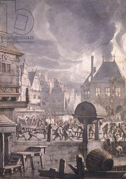 Fire at the Old Town Hall in Amsterdam, 17th July 1652 (pen & ink and w/c on paper)