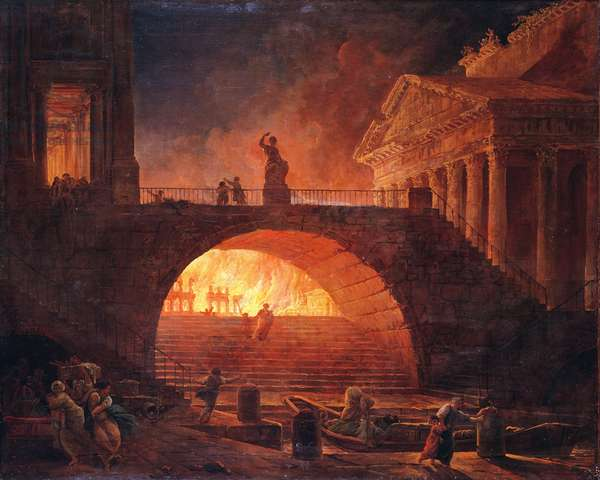 The Fire of Rome, 18 July 64 AD (oil on canvas)