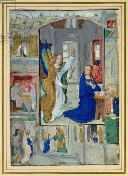 Annunciation, from a book of Hours (vellum)