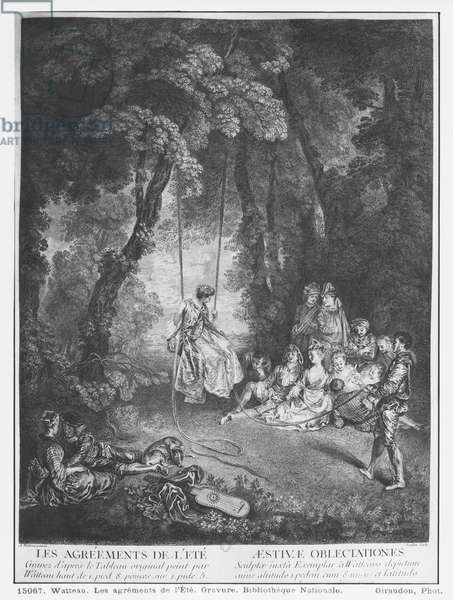 The pleasures of summer, engraved by Francois Joullain (1697-1778) (engraving)