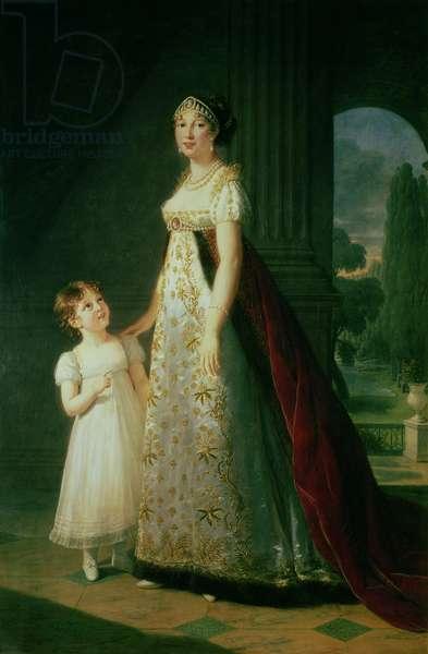 Maria Carolina Bonaparte (1782-1839) Queen of Naples with her daughter Laetitia Murat, 1807 (oil on canvas)