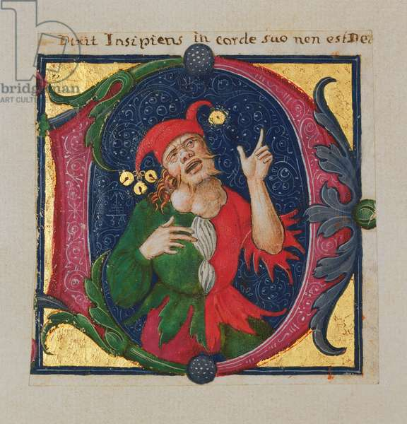 Inhabited initial 'D' depicting a fool (w/c & gold on vellum)
